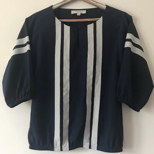 LOFT Navy White Striped Peasant Blouse Small